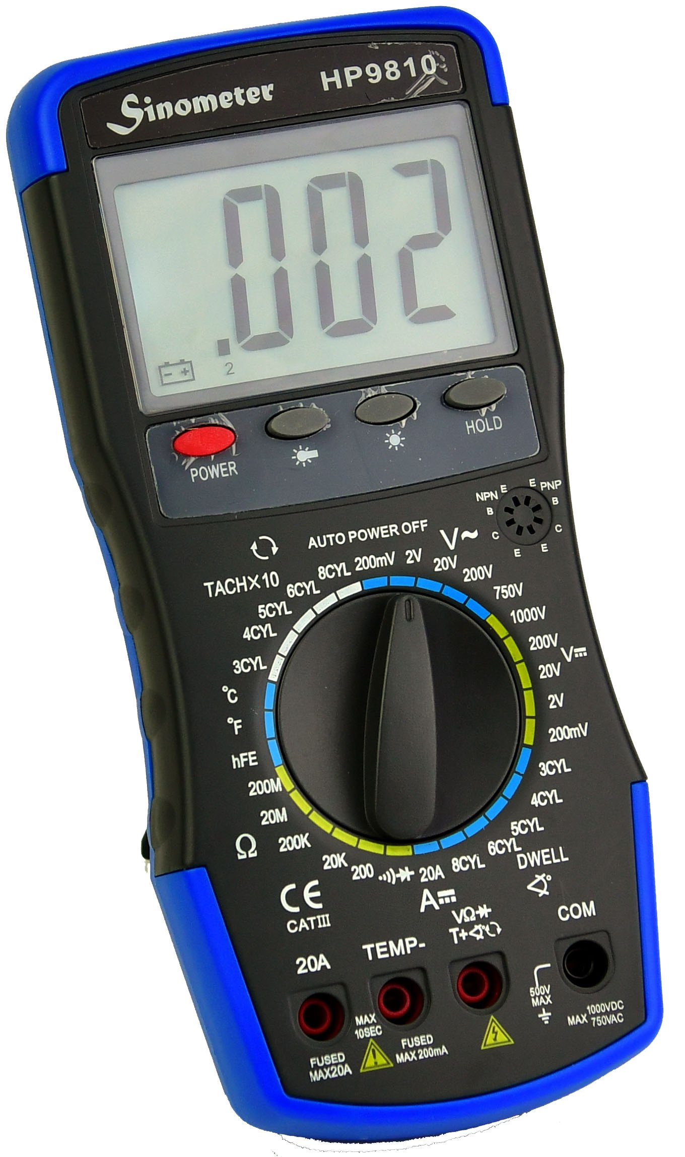 Sinometer HP9810 Automotive Digital Multimeter with Thermometer and Carrying Case by Sinometer (Image #1)