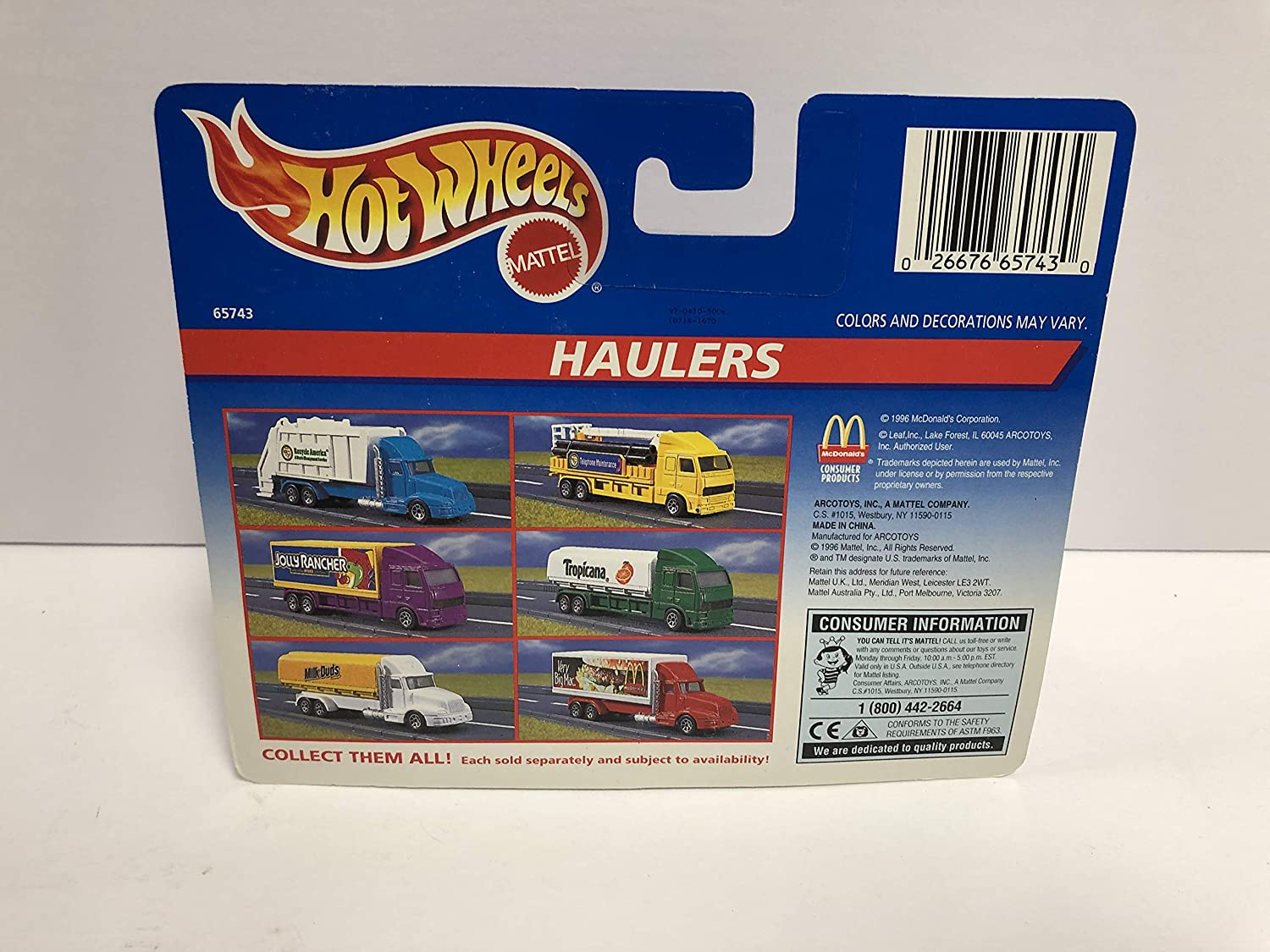 Haulers McDONALDS BIG MAC 1997 Mattel Hot Wheels diecast