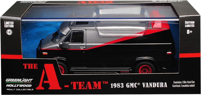 Greenlight GMC Vandura The A-Team Schwarz mit Rot 1968-1996 1//43 Modell Auto mit individiuellem Wunschkennzeichen