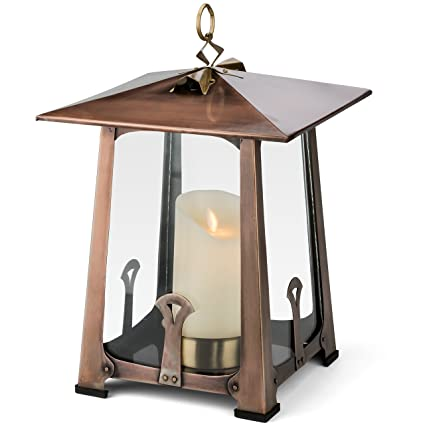 H Potter Craftsman Candle Lantern Decorative Table Top Indoor Outdoor Patio  Candle Holder Large