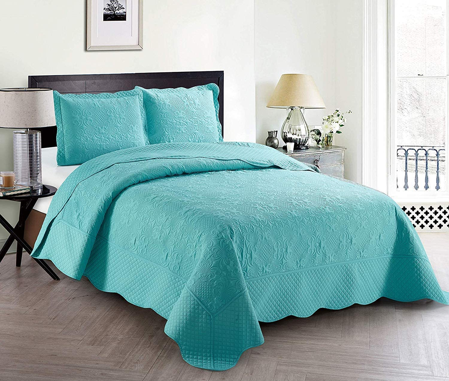 Full//Queen, Light Blue Better Home Style 3 Piece Luxury Ultrasonic Embossed Solid Quilt Coverlet Bedspread Oversized Bed Cover Set # Veronica