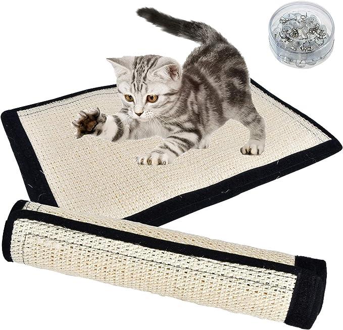 ULIGOTA Cat Scratching Mat Natural Sisal Scratch Cat Pad Cat Grinding Claws Skid-friendly Cat Claws Care Toy M:40 * 60 cm