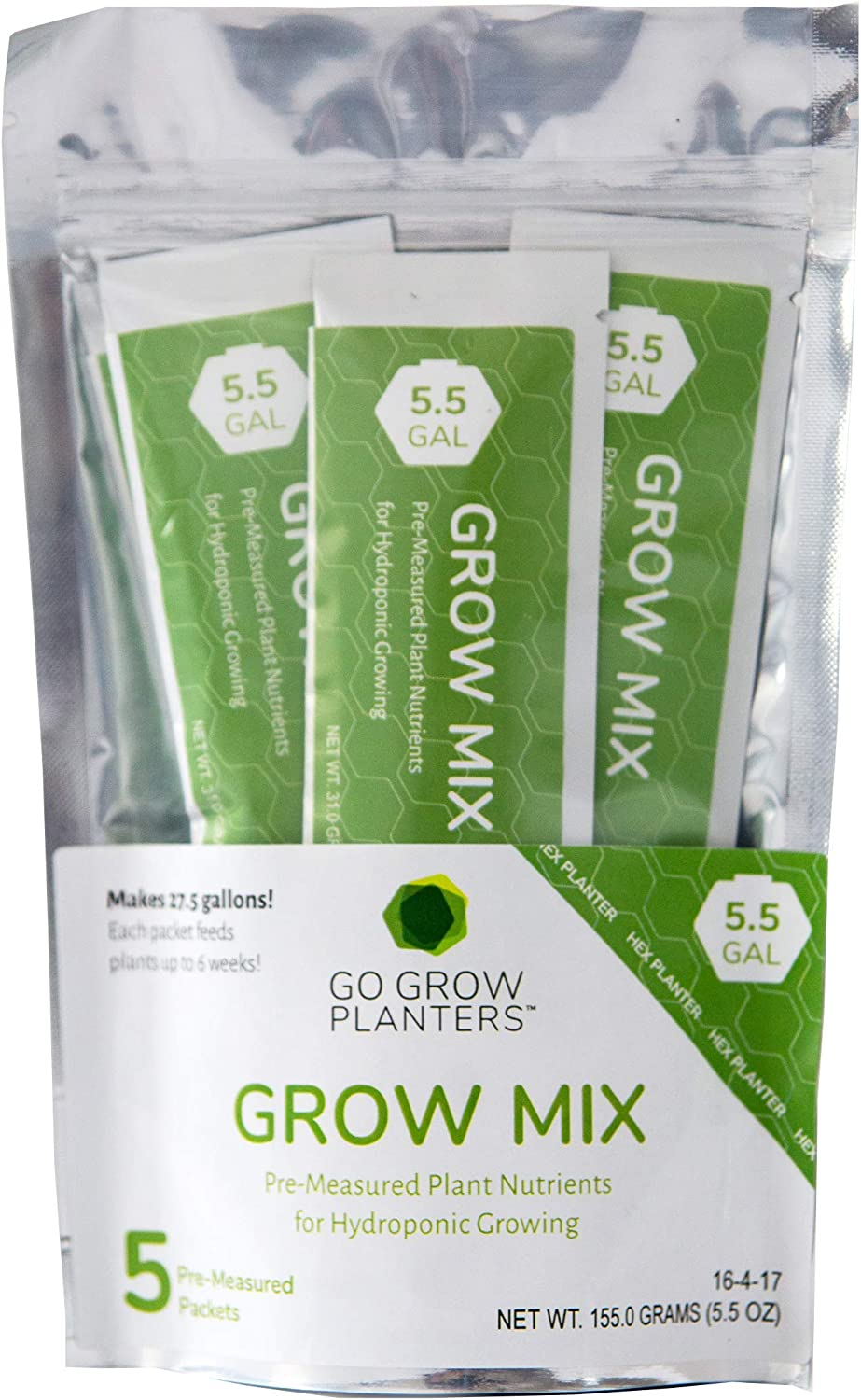Go Grow Hydroponic Plant Food - Gardening Nutrients for Non-GMO Veggies, Leafy Greens, Herbs and Flowers. 16-4-17 Formula for Hydroponic or Soil-Filled Container Growing; 5-Pack