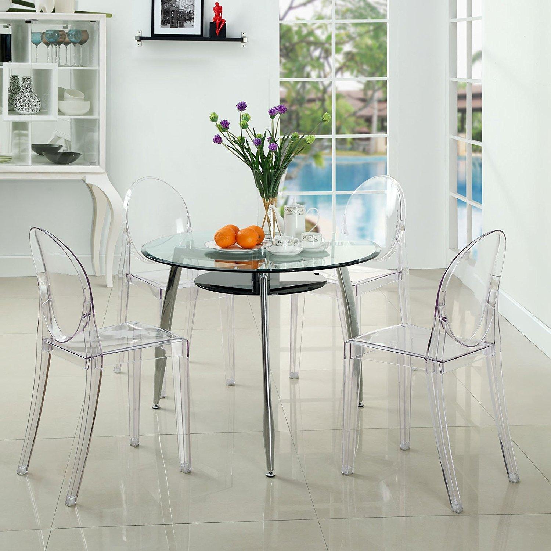 Lot de 2 Ghost Chaises en Acrylique Polycarbonate pour Salle à Manger, Salon, Bureau, Restaurant et Jardin, Taille: 91*35*48cm, Poids: 9kg, Transparent