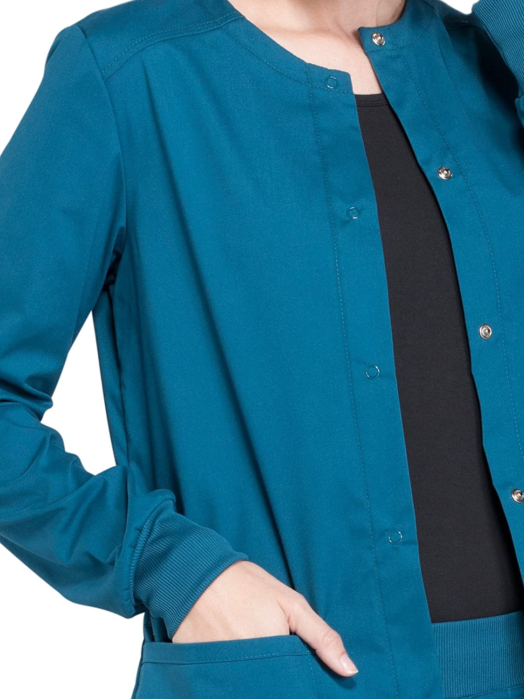 Cherokee Workwear Professionals Snap Front Warm-up Scrub Jacket Caribbean Blue M