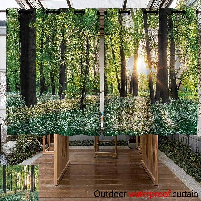 Sunnyhome - Cortinas de Ventana para Exteriores, diseño de Bosque y Verano, Plantas Tropicales, Ideal para Salones y dormitorios: Amazon.es: Jardín