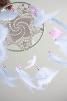 Crib Mobile Feather Dreamcatcher Diameter 8 inches(20cm) Ivory doily, White and pink feathers and Pink glass beads
