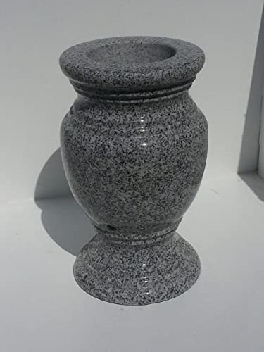 Turned Granite Vase Polished 5.5 x9 Gray