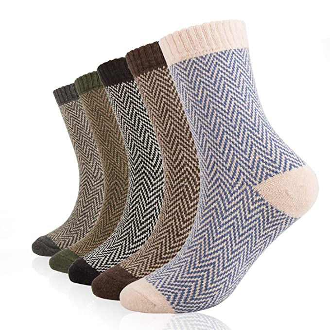 ElifeAcc 5 pares de calcetines de lana gruesa y cálida para hombre (Reino Unido 7