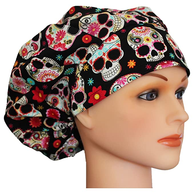 Hurricane Caps Bouffant Scrub Cap, Day of the Dead