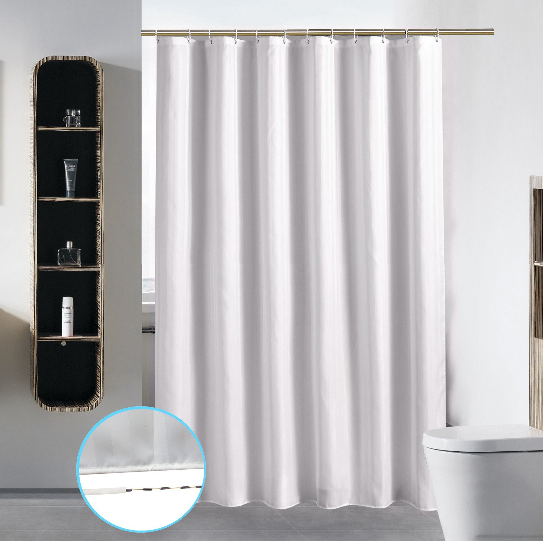 Stall Shower Curtain Liner for Bathroom Washable Fabric Waterproof Cloth Mildew Resistant Polyester (Best Small Size Hotel Quality Eco Friendly) with Curved Plastic Hooks Set - 54'' x 78'', Stripe White