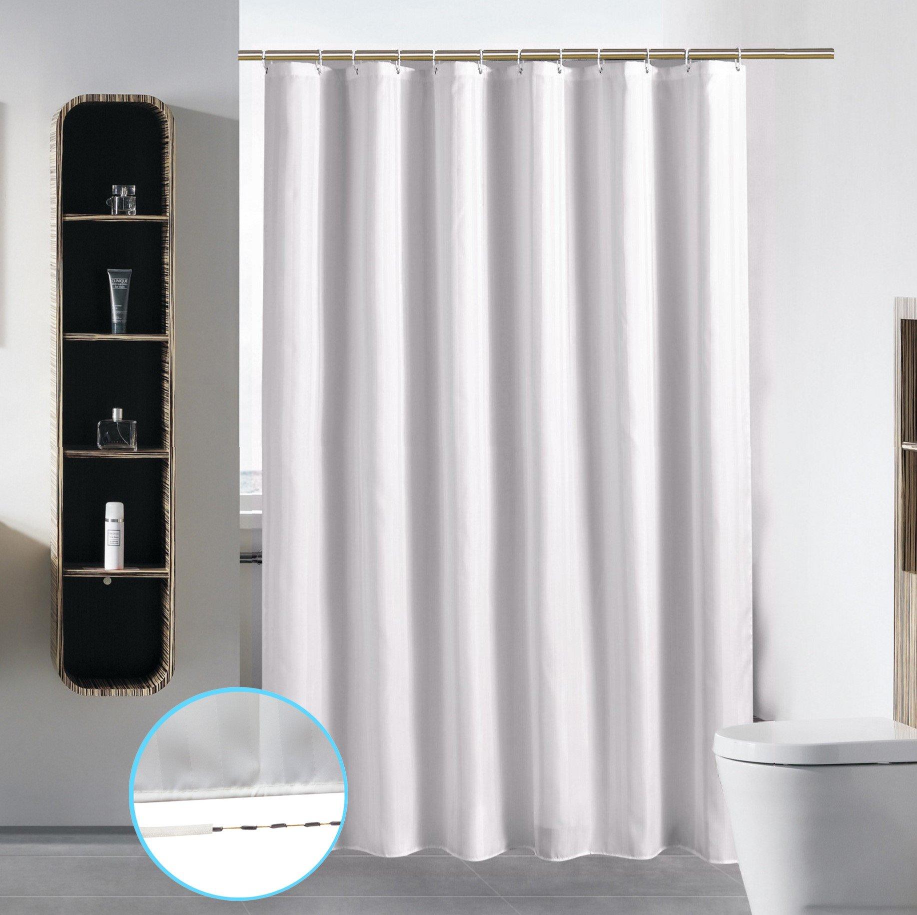 S·Lattye Bathroom Shower Curtain Liner Washable Fabric Waterproof Polyester (Hotel Quality Friendly Damask Stripe Cortinas Baño) & Heavy Duty Plastic Hooks Set - Standard 72 x 72, White