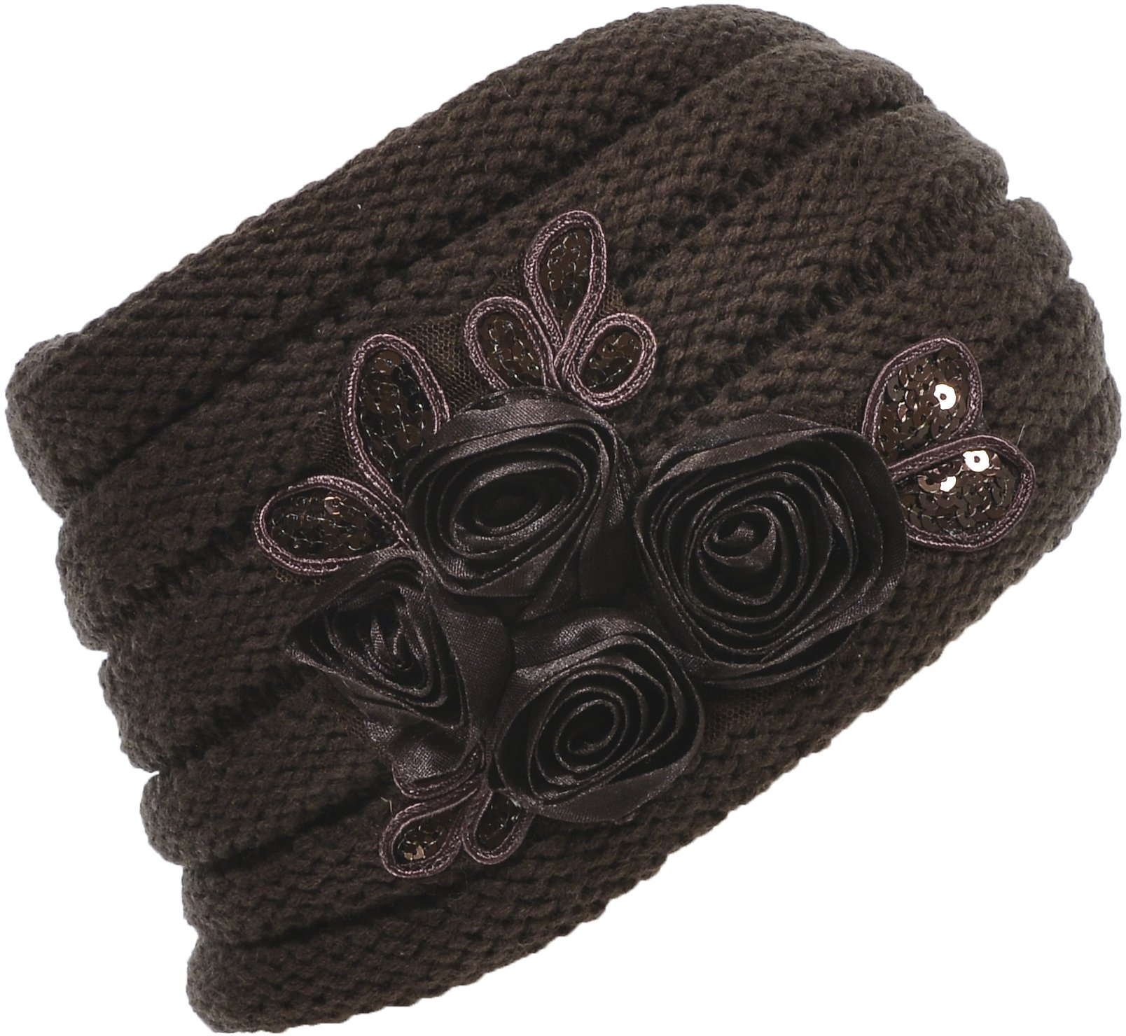 Hand By Hand Aprileo Women's Floral Knitted Headband Sequins Satin Headwrap [Brown.](One Size)