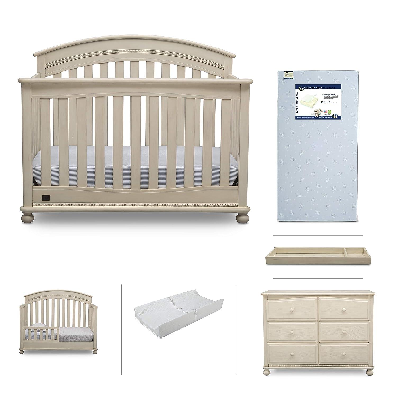 Baby nursery furniture set simmons kids 6 piece aden convertible crib dresser crib mattress toddler rail changing top changing pad antique white