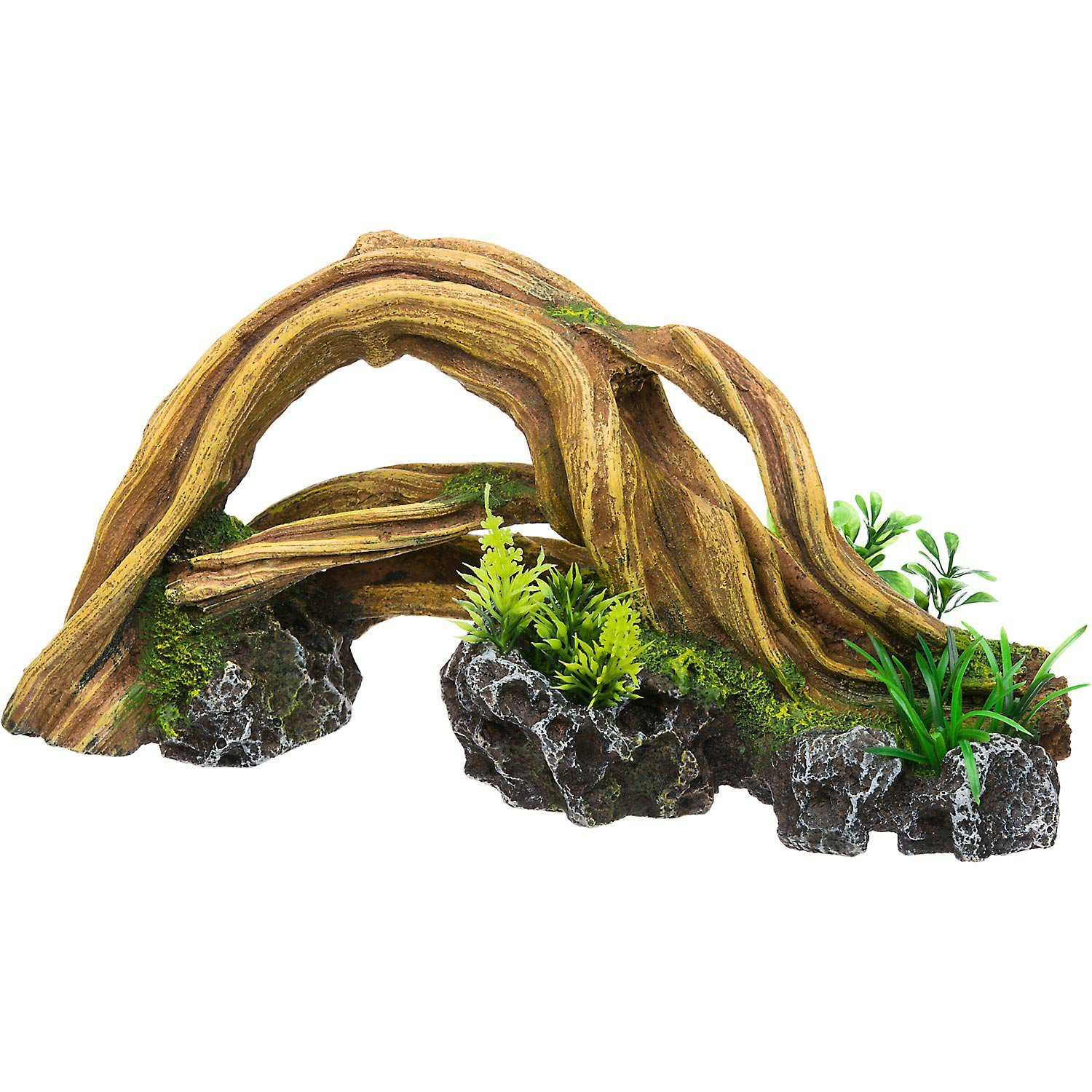 RockGarden Resin Wood Arch with Plants, Brown / Green by Rock Garden