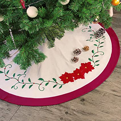 Ivenf 48 Inch Deluxe Embroidery Holly Leaves Poinsettia Red Green Cotton Christmas Tree Skirt Traditional Xmas Tree Holiday Decorations