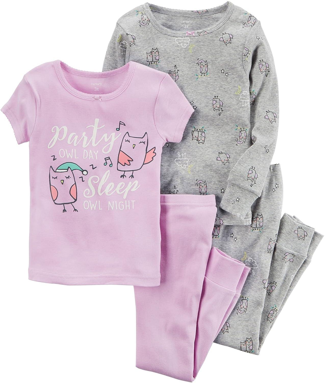 Carters Girls 12M-12 4 Piece Owl Party Pajama Set
