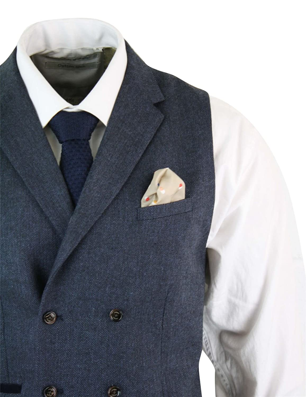 Cavani Gilet a Doppio Petto da Uomo Tweed Classico Vintage Stile Peaky Blinders