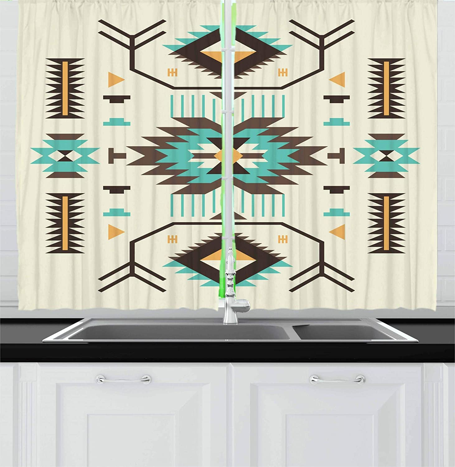 Ambesonne Southwestern Kitchen Curtains, Ethnic Pattern Design from Ancient Aztec Culture with Indigenous Zigzag Motifs, Window Drapes 2 Panel Set for Kitchen Cafe, 55 W X 39 L Inches, Multicolor