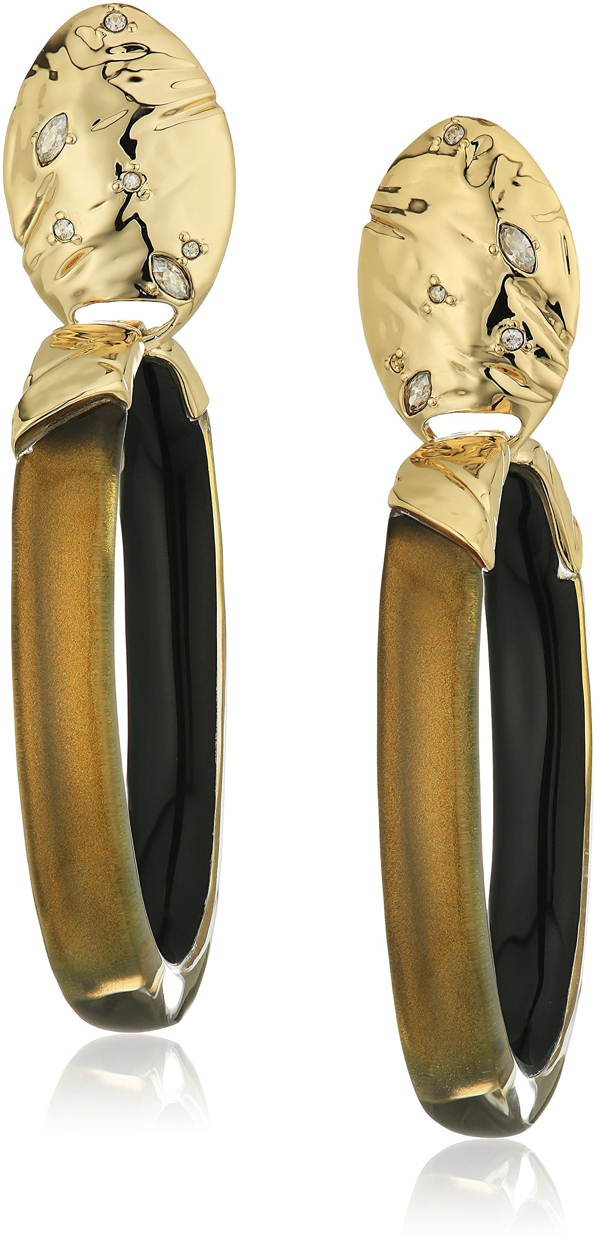 Alexis Bittar Fall 2017 Rocky Metal Oval Lucite Drop Metallic Marigold Clip-On Earrings