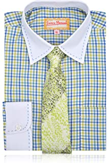 b9e41fdf0d3c34 Sizes 4-7 Button-Down & Dress Shirts Button-Down & Dress Shirts JAMES  MORGAN Boys Polka Dot Dress Shirt with Curated Tie
