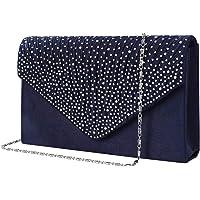 Bolso de Fiesta Noche Mujer Embrague Cartera de Mano de Satén para Mujer Diamantes, Bolsa de Cadena del Monedero para…