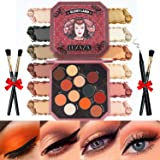 LUXAZA Eyeshadow Palette Natural Colors 12 Colors Matte & Shimmer with Eyeliner & Brushes,Color-match & Pigmented & Soft Prof