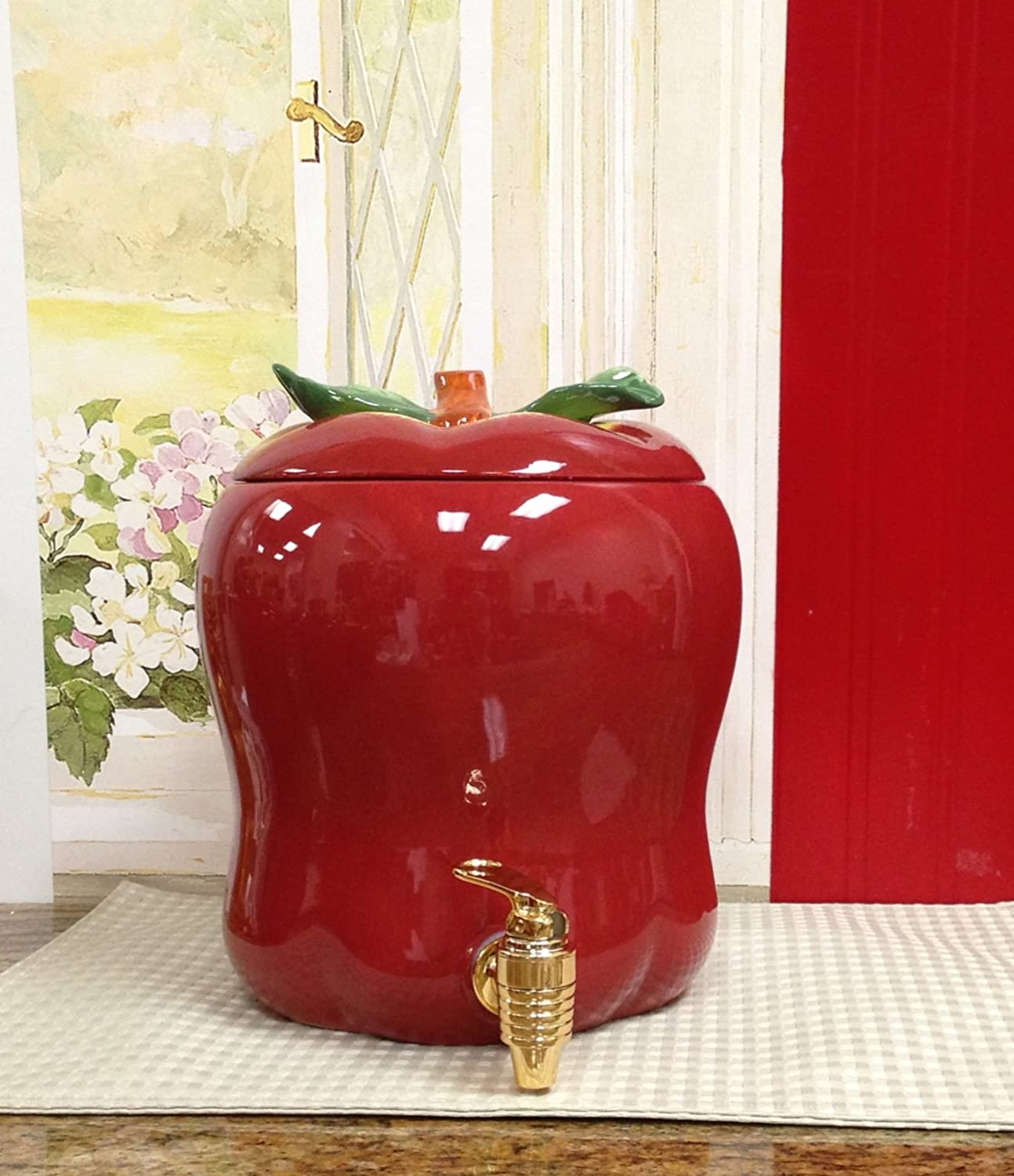 tuscany red apple shaped kitchen decor ceramic water