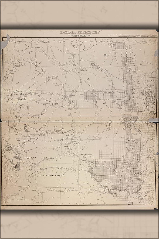 Amazon.com : 24x36 Poster; Map Of Dakota Territory 1878; North South ...