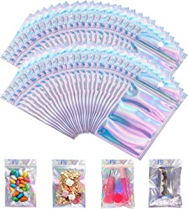 100 Pieces Resealable Smell Proof Bags Foil Pouch Bag Flat Ziplock Bag with 24 Labels,for Party Favor Food Storage (Holographic, 2.95x4.72 Inch)