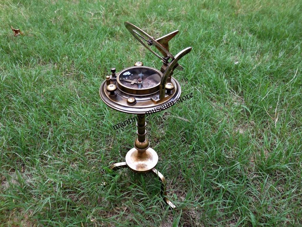 MAH Handmade Brass Sundial Compass with Beautiful Home Decor Solid Brass Stand.