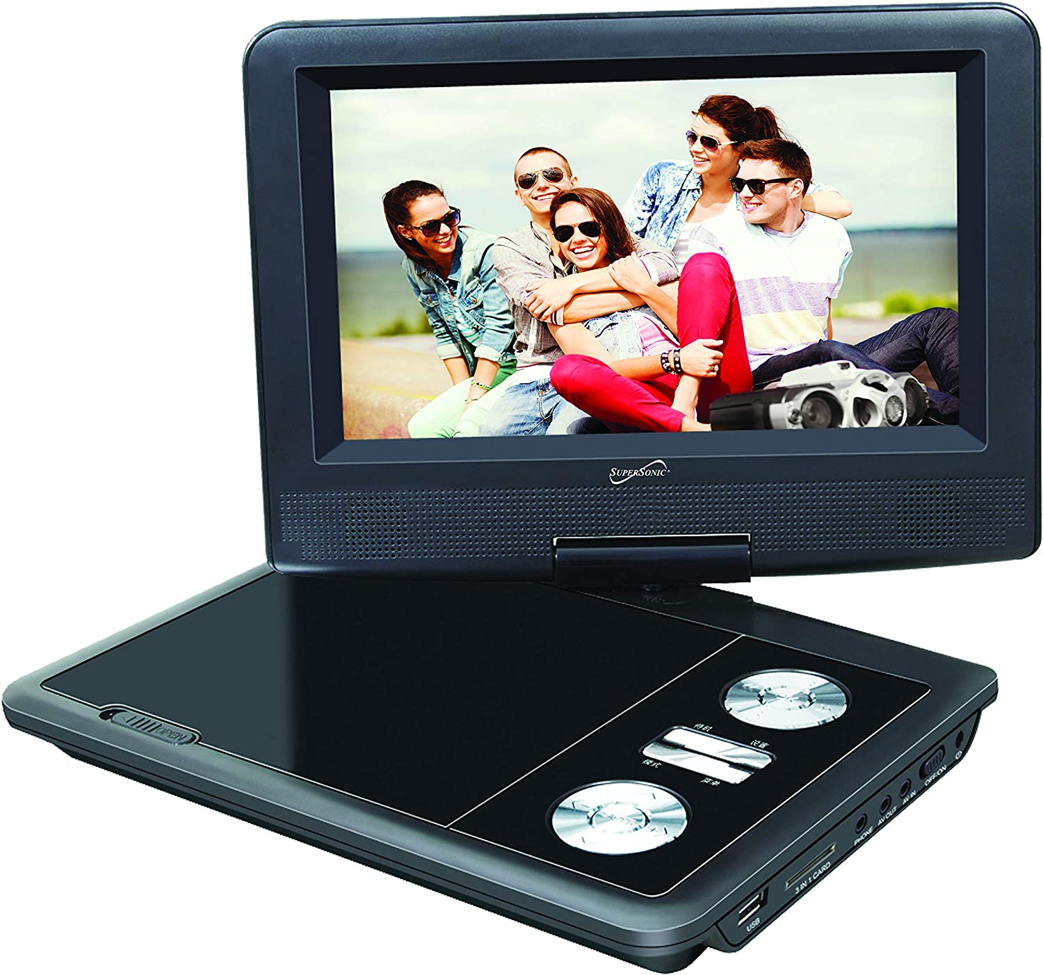 "SuperSonic SC-257 Portable DVD Player 7"" and Digital TV: USB and SD inputs with Built-in Lithium Ion Battery and Swivel Display"