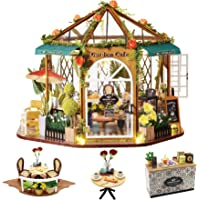 Spilay DIY Dollhouse Miniature with Wooden Furniture Kit,Handmade Mini Home Craft Villa Garden Coffee Model Plus Dust…