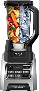 Ninja BL685 Professional Kitchen System 1200-watts with Auto-iQ, Powerful Blending, with 64 oz, Food Processor Bowl, 72 oz. Total Crushing Pitcher, and Single Serve, Black and Silver