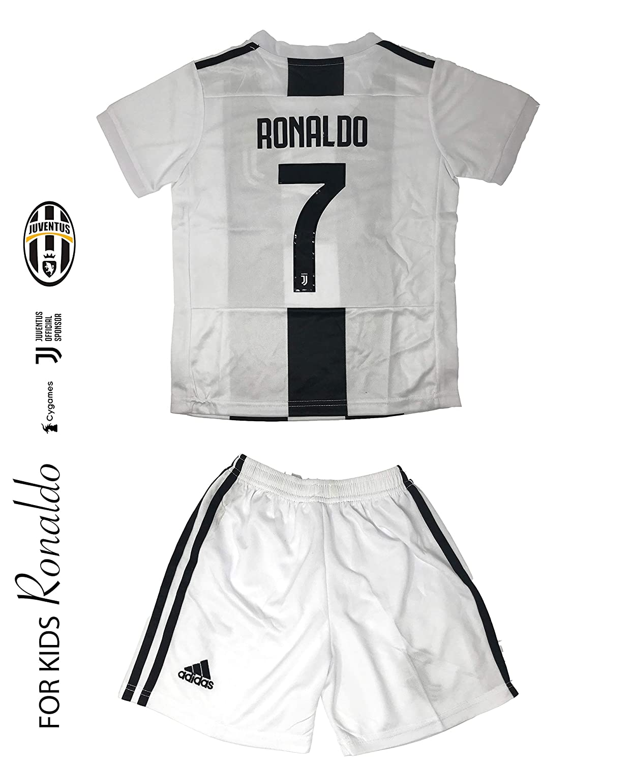 Juventus Soccer Jersey Kids on Season 2019 Juventus Ronaldo No.7 Replica Jersey Kit: Shirt + Short Includes All Patches Logos Soccer KIT Kids