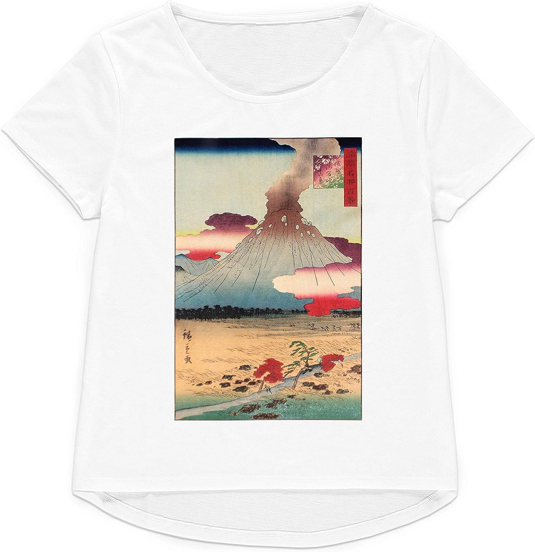 Strand Clothing - Camiseta Japonesa Ukiyo-e Art Hiroshige Volcán para Mujer y Hombre, Estampado gráfico
