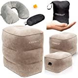 essence' Inflatable Foot Rest Kids Travel Pillow - Portable Airplane Leg Rest Height Adjustable - Perfect Cushion for Sleeping Kids on The Plane & Car - Ideal Flight Pillows for Long Haul Fly Legs Up