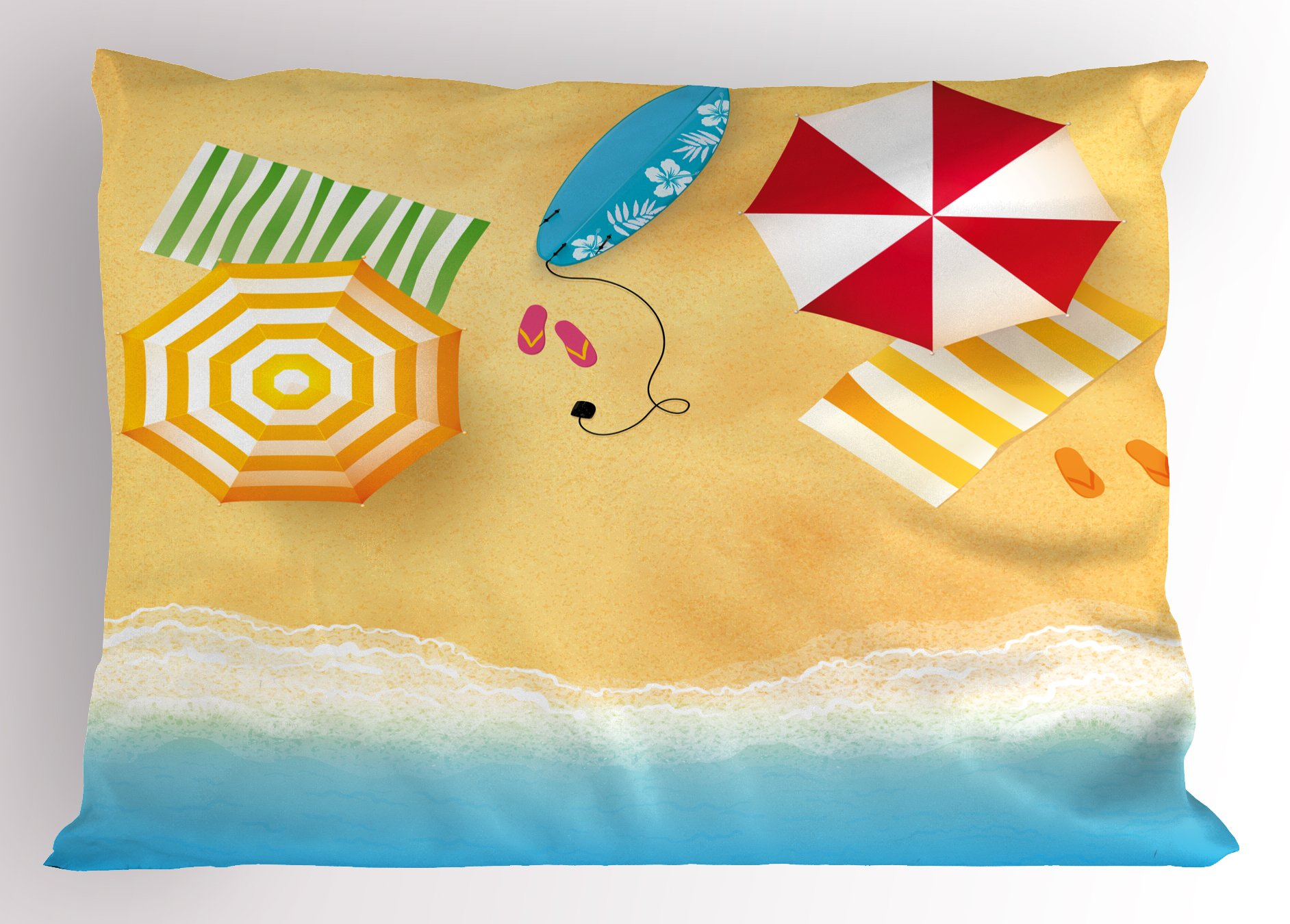 Ambesonne Beach Pillow Sham, Beach Waves with Umbrella Towels and Surfing Board Swimming Themed Summer Season, Decorative Standard Size Printed Pillowcase, 26 X 20 inches, Multicolor