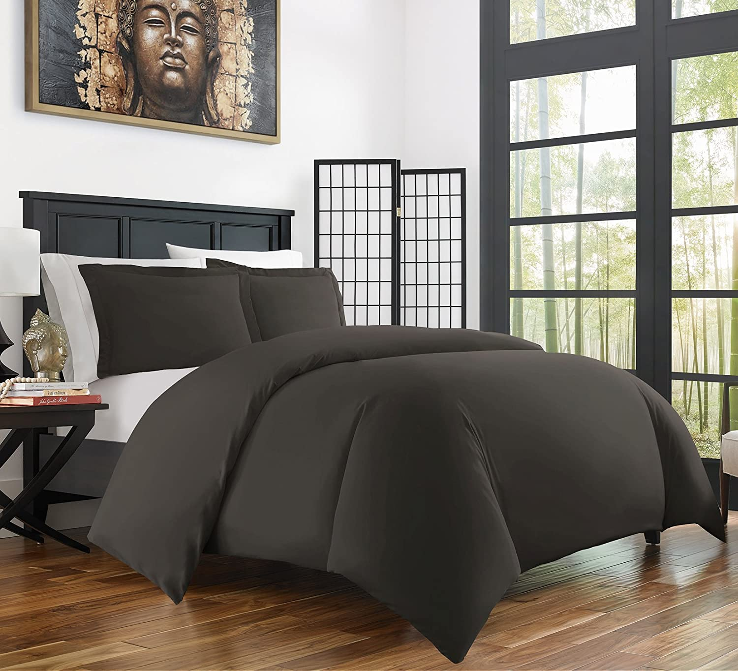 Zen Bamboo Ultra Soft 3-Piece Rayon Derived From Bamboo Duvet Cover Set -Hypoallergenic and Wrinkle Resistant - King/Cal King - Gray