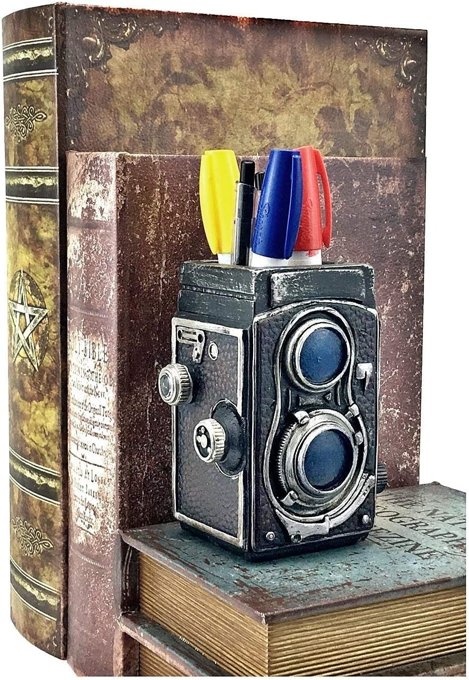 Bellaa 21390 Camera Pencil Holder Retro Pen Desk Organizer