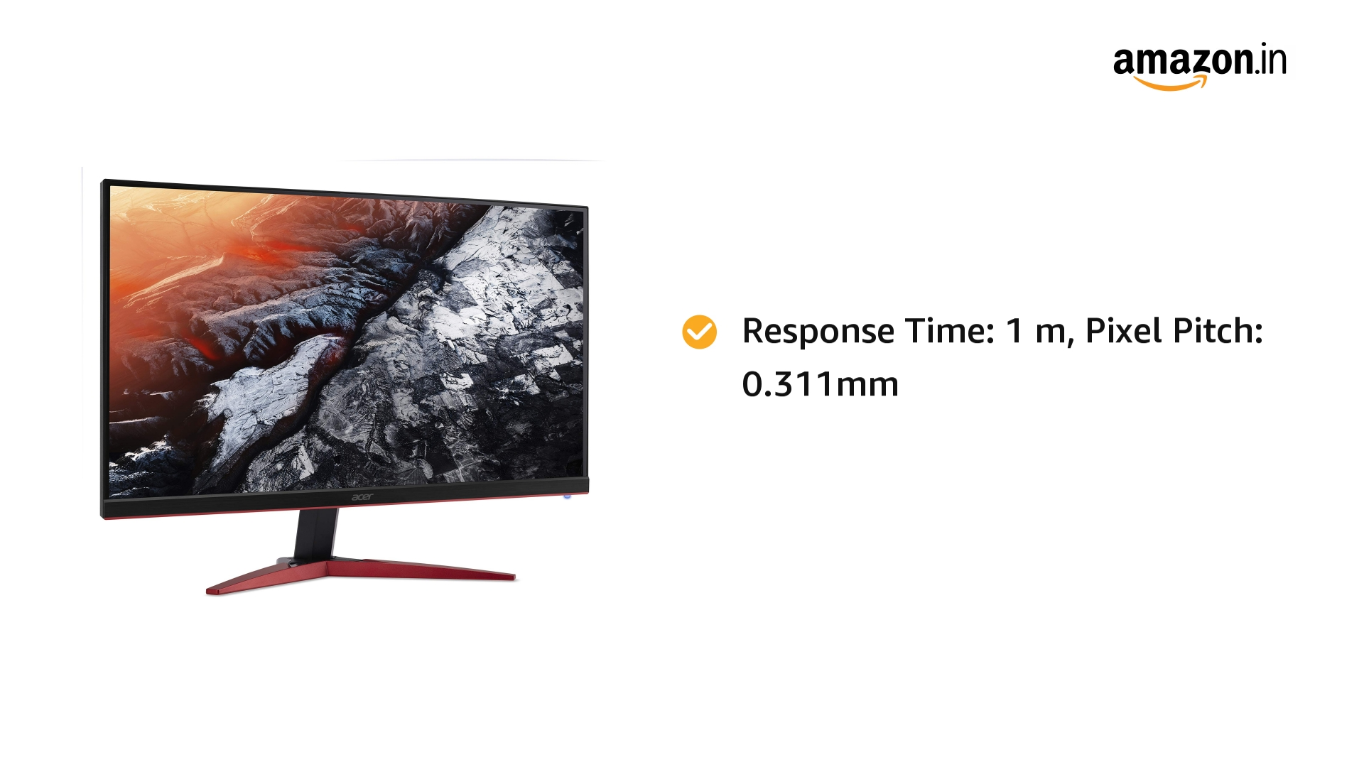 Acer 27-inch (68.58 cm) Full HD TN Panel Gaming Monitor with 1920 x 1080 Resolution - KG271 Cbmidpx (Black)