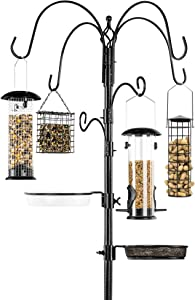 Best Choice Products 6-Hook Bird Feeding Station, Steel Multi-Feeder Kit Stand for Attracting Wild Birds w/ 4 Bird Feeders, Mesh Tray, Bird Bath, 5-Prong Base - Black