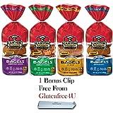 Canyon Bakehouse Gluten Free Bagel Variety Pack - 4 Flavors (1 Plain Bagel, 1- Everything Bagel, 1 - Cinnamon Raisin Bagel, 1 - Blueberry Bagel) + 1 Bonus Clip from Glutenfree4U