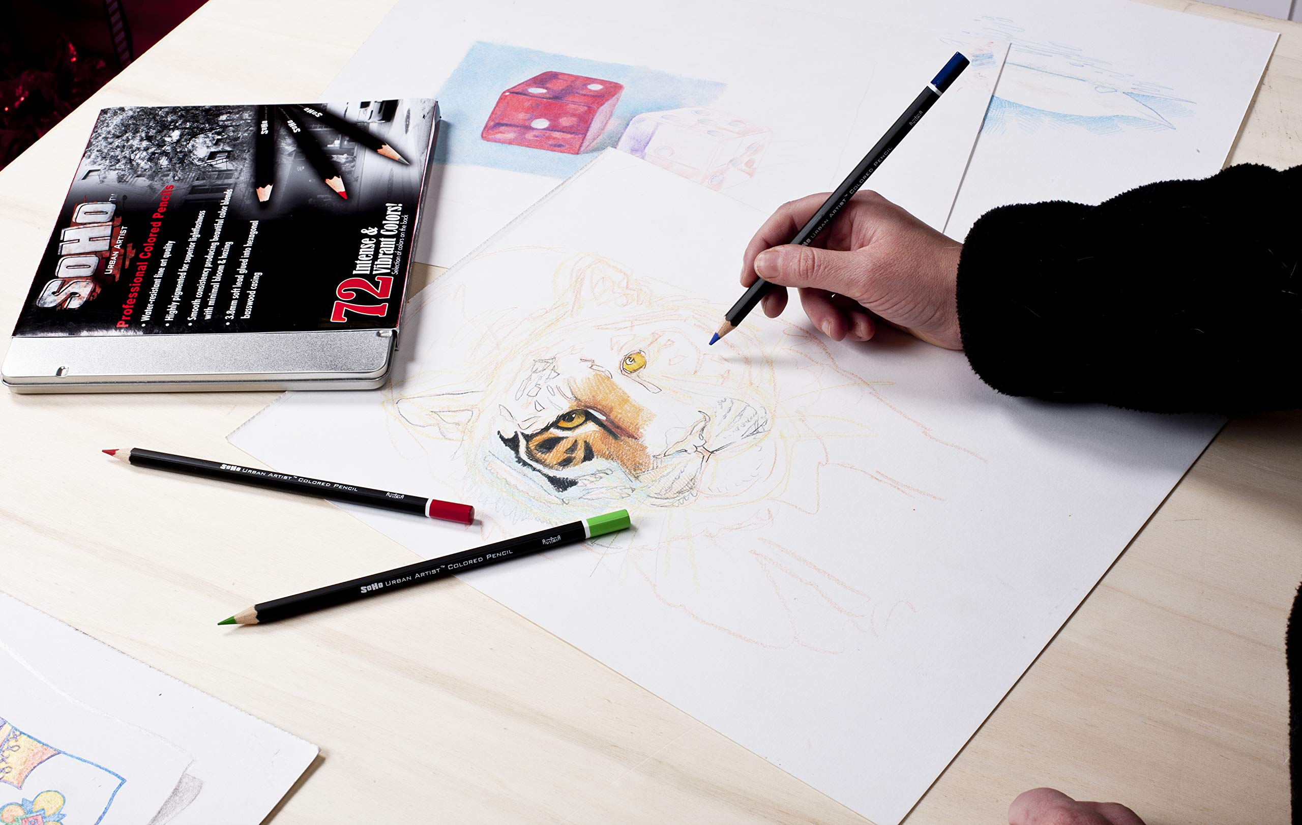 SoHo Urban Artist Professional Colored Pencil Set of 72 - Assorted Colors by Soho Urban Artist (Image #6)