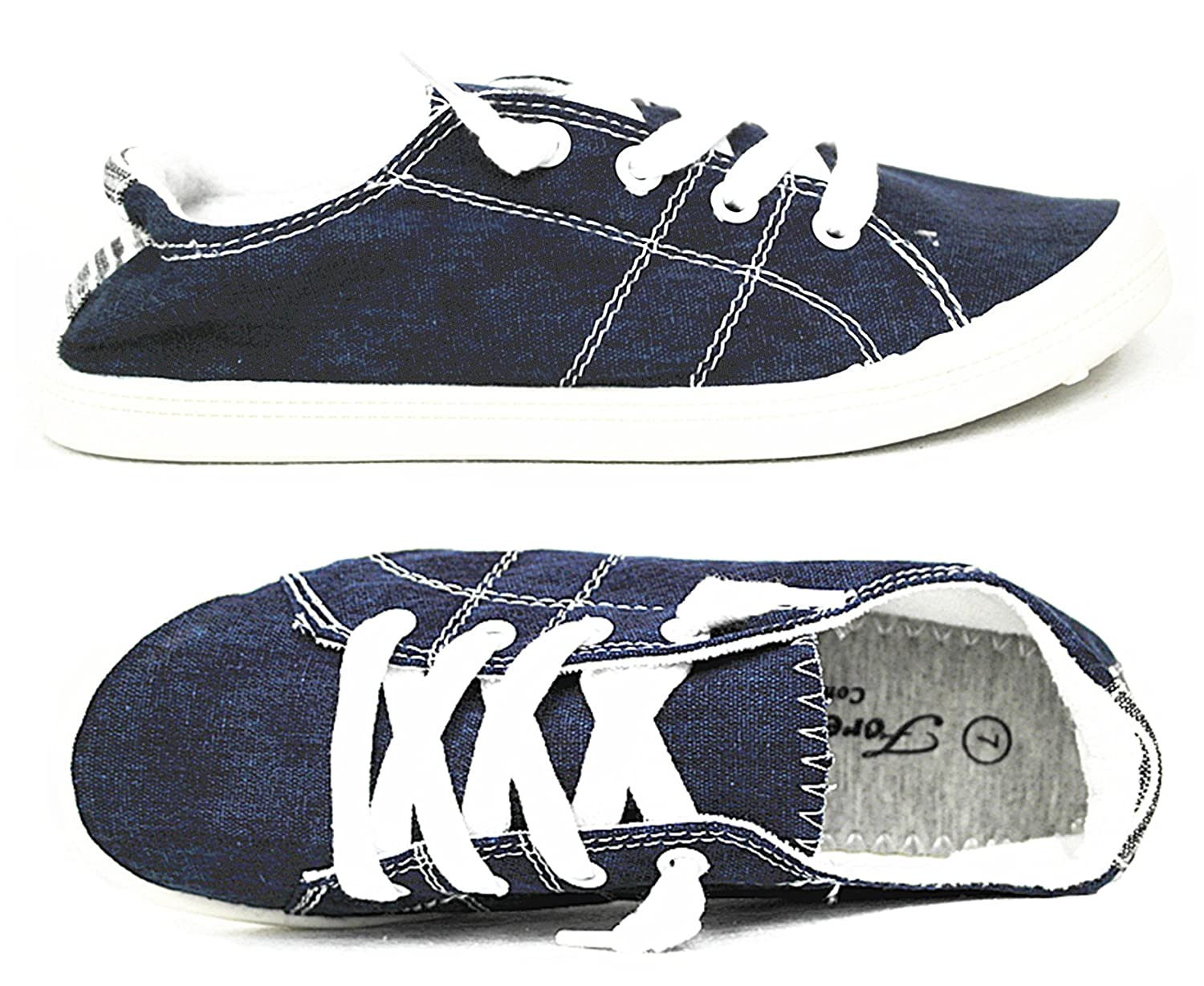 Forever Link Comfort Women's Lace up Casual Street Sneakers Flat Shoes B07DNK1JPF 11 B(M) US|Navy-01