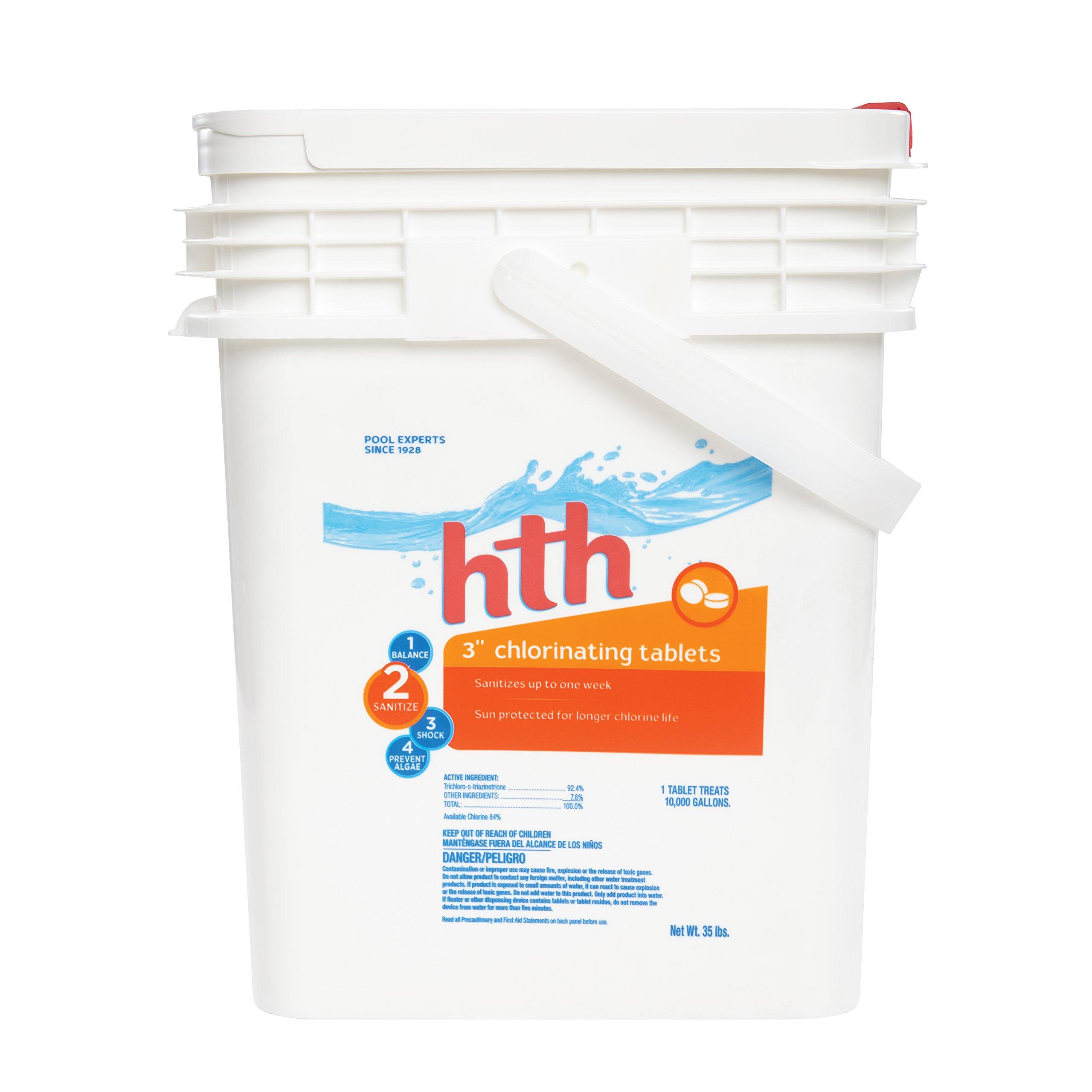 "HTH 42005 3"" Tablets Swimming Pool Chlorine, 35 lbs, Regular"