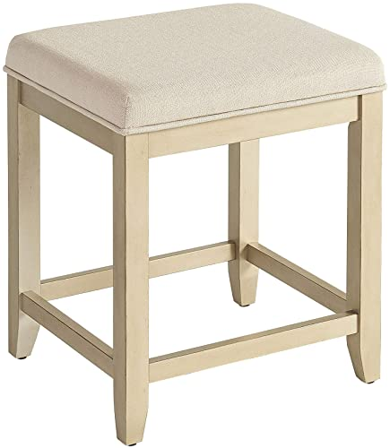 Crosley Furniture Vista Vanity Stool, Distressed Gold with Cr me Linen Seat