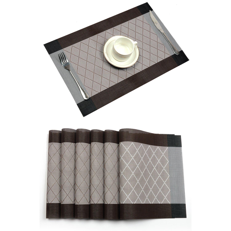 Placemat,U'Artlines Crossweave Woven Vinyl Non-slip Insulation Placemat Washable Table Mats Set (6pcs placemats, L Coffee)