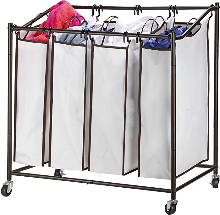 Sagler 4 bag laundry hamper with wheels rolling laundry cart Heavy duty Laundry Sorter removable Chrome laundry organizer