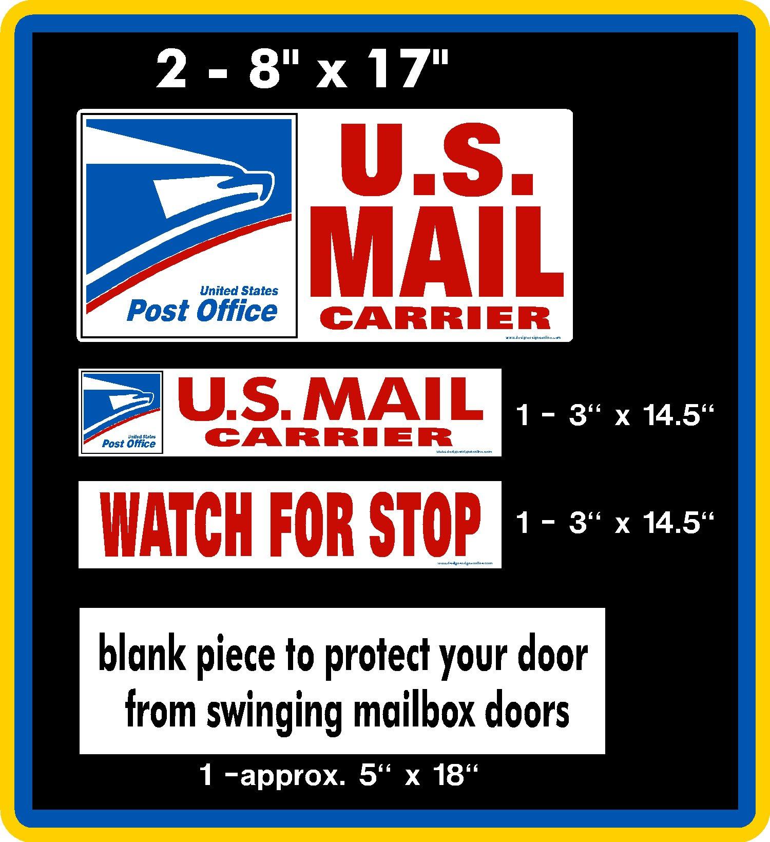 U.S. Mail Delivery Magnetic Sign Rural Carrier Magnet USPS 5 Piece Set Red by Designer Signs